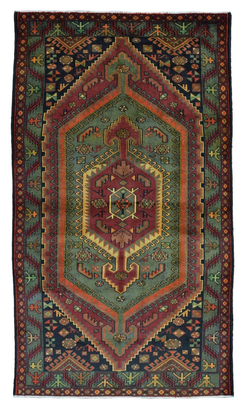 Persian Rug Hand Knotted Oriental Rug Semi-Antique Persian Hamadan Rug 4'5X7'7