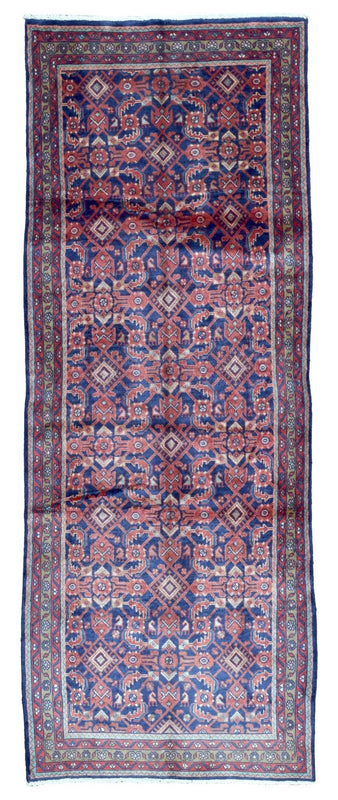 Persian Rug Hand Knotted Oriental Rug Semi-Antique Persian Hamadan Runner 3'7X9'6