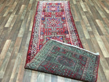 Persian Rug Hand Knotted Oriental Rug Semi-Antique Persian Hamadan Runner 3X9'4