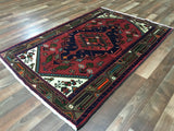 Persian Rug Hand Knotted Oriental Rug Semi-Antique Persian Hamadan Small Rug 3'3X4'10