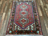 Persian Rug Hand Knotted Oriental Rug Semi-Antique Persian Hamadan Small Rug 3'3X4'8
