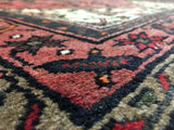 Persian Rug Hand Knotted Oriental Rug Semi-Antique Persian Hamadan Small Rug 3'4X5'