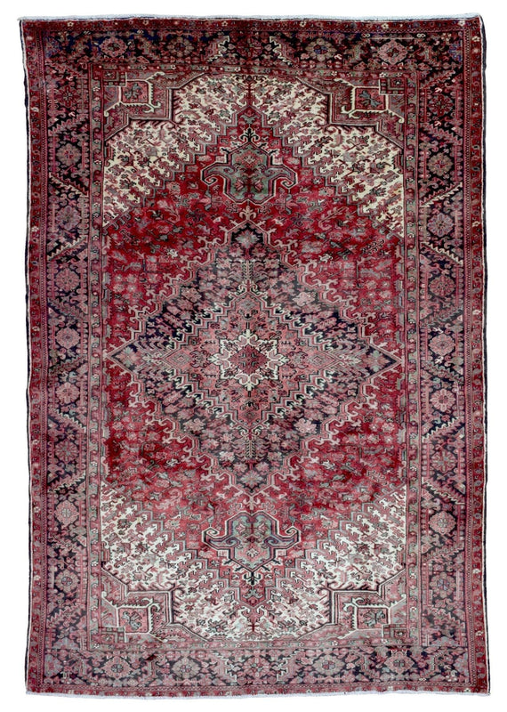 Persian Rug Hand Knotted Oriental Rug Semi-Antique Persian Heriz Oriental Rug 7'6X10'7