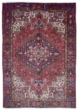 Persian Rug Hand Knotted Oriental Rug Semi-Antique Persian Heriz Oriental Rug 7'8X11'3