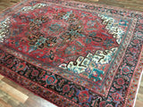 Persian Rug Hand Knotted Oriental Rug Semi-Antique Persian Heriz Oriental Rug 8'X10'7
