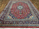 Persian Rug Hand Knotted Oriental Rug Semi-Antique Persian Kashan Oriental Rug 7'10X11'5