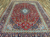 Persian Rug Hand Knotted Oriental Rug Semi-Antique Persian Kashan Oriental Rug 8'X11'7