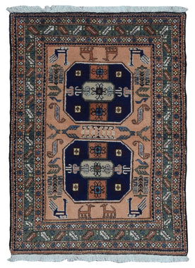 Persian Rug Hand Knotted Oriental Rug Semi-Antique Persian Kazak Oriental Rug 4'6x6'1