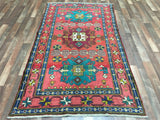Persian Rug Hand Knotted Oriental Rug Semi-Antique Persian Kazak Rug 4'X7'5