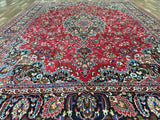 Persian Rug Hand Knotted Oriental Rug Semi-Antique Persian Mashad Oriental Rug 9'3X13'
