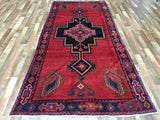 Persian Rug Hand Knotted Oriental Rug Semi-Antique Persian Mousel Rug 4'9X10'