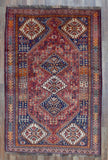 Persian Rug Hand Knotted Oriental Rug Semi-Antique Persian Shiraz Rug 5'1X7'7