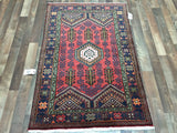 Persian Rug Hand Knotted Oriental Rug Small Persian Rug Hamadan 3'2X4'9