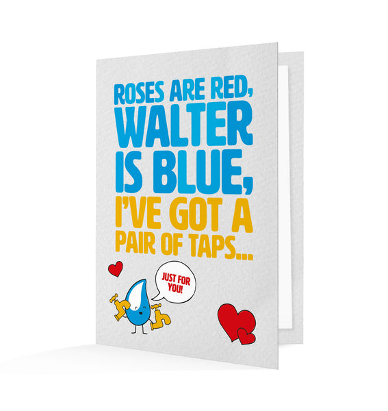 Set your loved one's heart a-flutter with this lovely pair of taps. You'll be sending them this cute personalised Valentine's Day card!