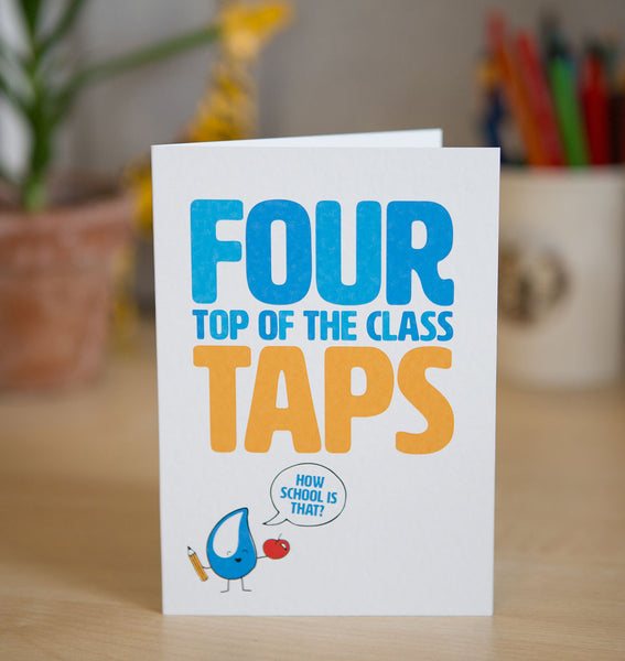 This card gifts a handwashing facility to a school - that's a 'Grade A' gift for sure!