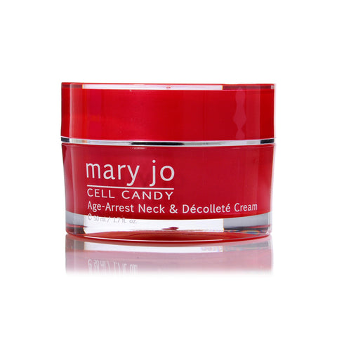 Mary Jo Neck & Décolleté Cream addresses loss of firmness and dehydration with our most potent and effective ingredients available.