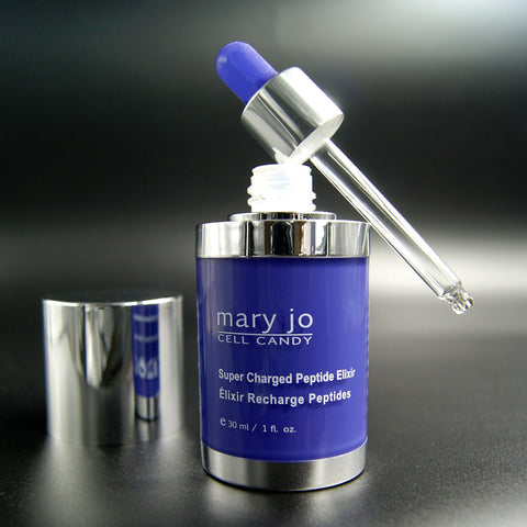 Mary Jo Peptide Elixir acts naturally to reactivate tired and aging skin.