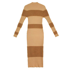 Fuzzy Striped Midi Dress-Dress-Fengyi Tan-Tan-S-CHOP SUEY CLUB
