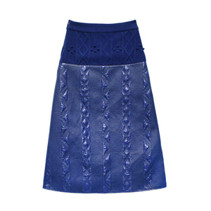 Knitted and Woven Pattern Long Skirt
