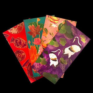 Floral Red Envelope Pack-Money Envelopes-CHOP SUEY CLUB-8 / Pack-CHOP SUEY CLUB