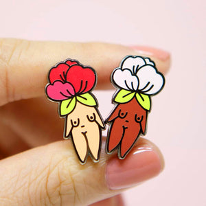 Flower Girl Enamel Pin-Pin-Little Woman Goods-Light + Dark Pack-CHOP SUEY CLUB