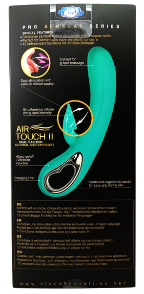 Dual Function Clitoral Teal colored Suction Vibrator - Air Touch II