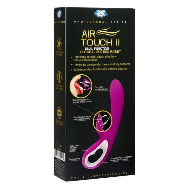 Pro Sensual Air Touch 2 Dual Function Clitoral Suction Rabbit, Purple