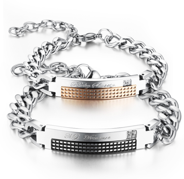 Stainless steel chain bracelets set
