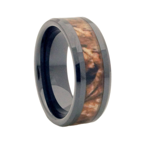 Black Fall Camouflage Ceramic promise ring vertical view