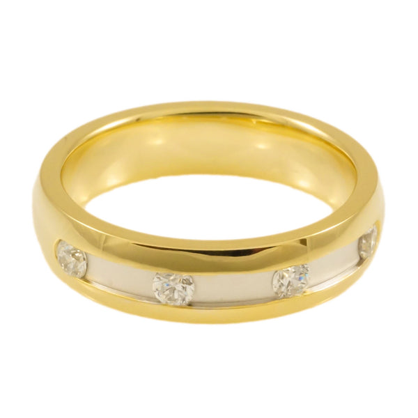Sterling Silver Yellow Gold  Plated  Band Woman Horizontal view