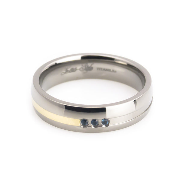 Woman's Titanium Gold Inlay Blue Topaz Wedding Band horizontal view