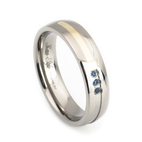 Woman's Titanium Gold Inlay Blue Topaz Wedding Band vertical view
