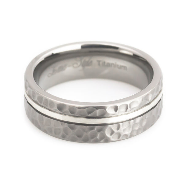 Titanium Silver inlaid Hammered wedding Ring Man horizontal view