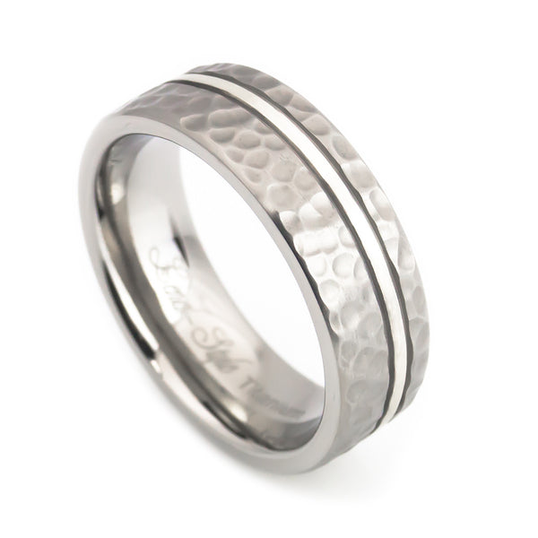 Titanium Silver inlaid Hammered  wedding Ring Man vertical view