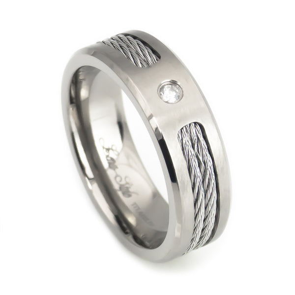 Titanium Band with Diamond,Steel Twisted Cable Inlay Man vertical view