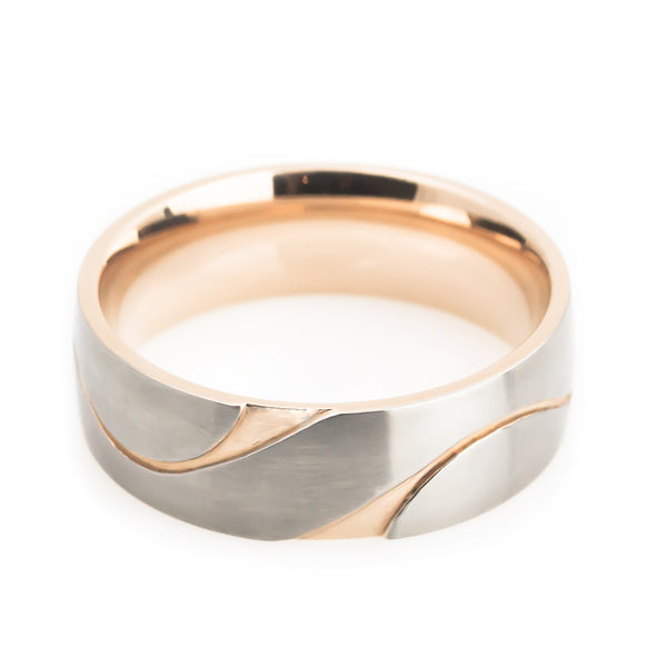 Titanium, rose gold designer cut wedding band horizontal view