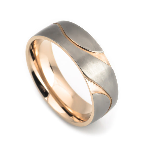 Titanium, rose gold designer cut wedding band vertical view