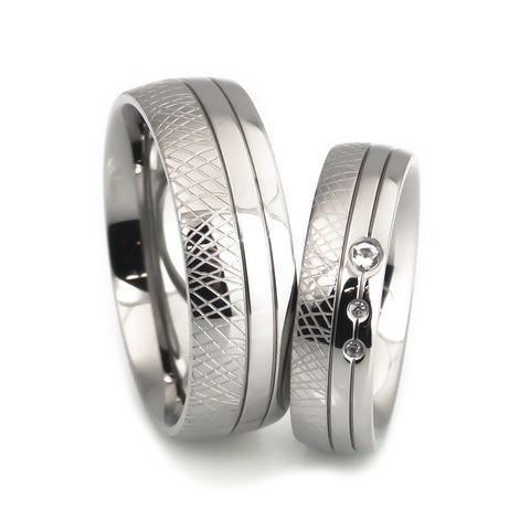 lena style, titanium  hand crafted wedding band set