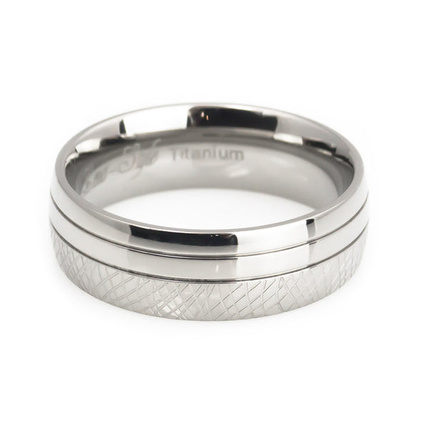 Titanium White  Topaz Inlay Wedding Band  Set-Man horizontal view