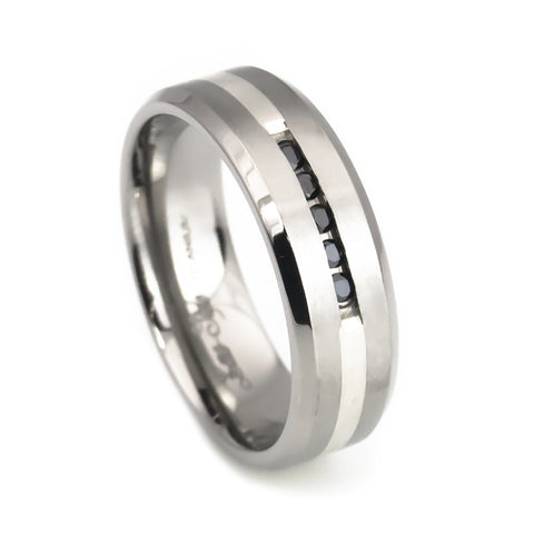 Diamond titanium men's wedding band