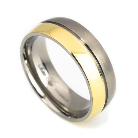 Titanium Rose Gold Plated wedding band Man