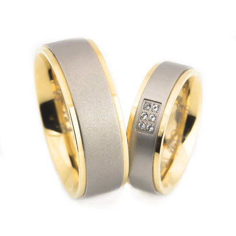 lena style crown titanium wedding set both standing