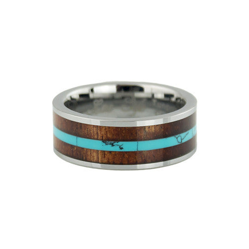 Turquoise stripe KOA wood inlay tungsten ring