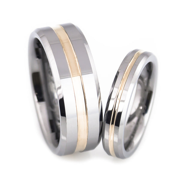 Tungsten  Middle Rose Gold Plated Grooved Band Set