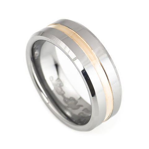Tungsten  Middle Rose Gold Plated Grooved Band Man vertical view