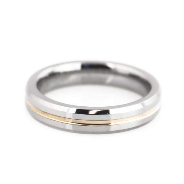 Tungsten Rose Gold Grooved Center