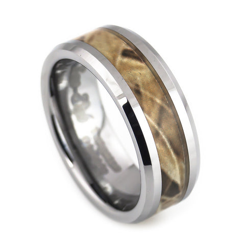 Tungsten ring Beveled, Camouflage Inlay for Man vertical view