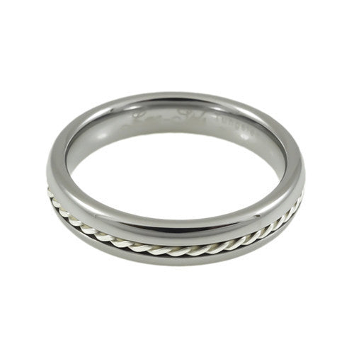 Tungsten Carbide  Ring,Silver Braid,Dome and High Polish, Woman horizontal view