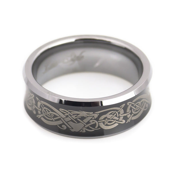 Tungsten Carbide Band with Dragon Pattern Engraving Man horizontal view