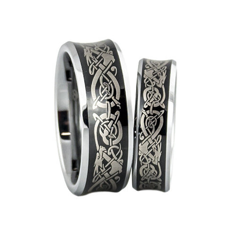 lena style dragon pattern wedding band set